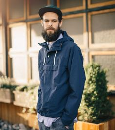 Matthew is wearing Medium in Engineered Garments and Battenwear and Small in Post Overalls. Rebel Fashion, Mens Fashion, Fashion Outfits, Engineered Garments, Weekend Style, Beard Styles, Fashion Lookbook, Dress Codes, Rain Jacket