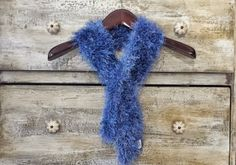 Light Blue Furry Handmade Knitted Scarf