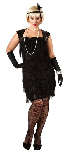 plus size flapper dress | Plus Size Black Flapper Costume - Flapper Costumes