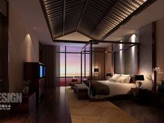 Asian Modern Bedroom. Asian accents add a very nice twist to modern decor. Like it!