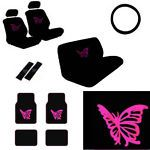 Details About Pink Butterfly Car Seat Covers Front Rear Full Set Auto Accessory Universal Fit