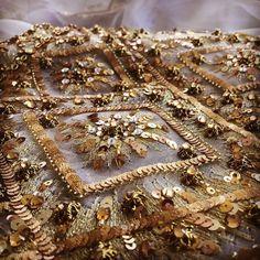 ⚜ Golden ⚜  #lenour #handmade #embroidery #sequin #threats #gold #details #gem…