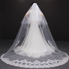 Buy White & Ivory Lace Cathedral Veils at thebridalcharm.com! Free shipping to 185 countries. 45 days money back guarantee.