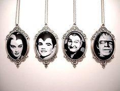 The MUNSTERS Pendants, Halloween Pendant, Lily Munster, Eddie Munster, Grandpa…