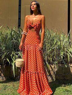 maxi dress Polka Dot Maxi Dresses Knotted Cut Out Sleeveless Long Slip Dress Maxi Dress Summer, Bohemian Summer Dresses, Red Summer Dresses, Beach Dresses, Sexy Dresses, Dress Outfits, Fashion Outfits, Dress Beach, Long Casual Dresses