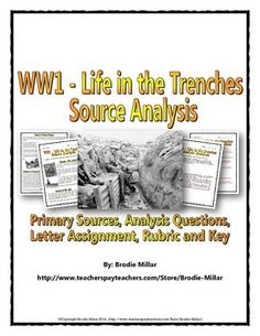 World War One - Life in the Trenches - Source Analysis (Questions, Assignment) 5th Grade Social Studies, Social Studies Worksheets, Social Studies Classroom, History Classroom, Teaching Social Studies, History Activities, Teaching History, World History Lessons, Middle School Teachers