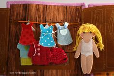 Quiet book for Caitlyn, busy book, gift for children, dressing felt doll, развивающая книжка, кукла из фетра, одежда