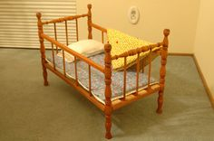 Vintage Doll Crib with Original Mattress Baby Doll Furniture, Doll Beds, Cots, Antique Dolls, Vintage Toys, Cast Iron, 1940s, Baby Dolls, Mattress