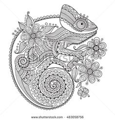 Animal Pattern Coloring Pages Beautiful Chameleon Zentangle Coloring Page Colorir Pattern Coloring Pages, Adult Coloring Book Pages, Mandala Coloring Pages, Animal Coloring Pages, Colouring Pages, Coloring Books, Mandala Art, Mandala Design, Hippo Tattoo