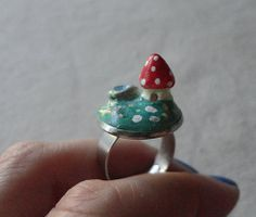 Toadstool House Adjustable Ring Forest Miniature by TheForestDoor #Etsy #EtsyRMP