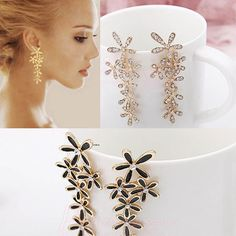 Christmas Gift boucle d oreille Bijoux Flower Crystal Earring boucles d'oreilles Drip Snowflake Earrings bijoux Women Jewelry