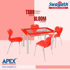 Keep your dining room stylish with the new TS09 dining #table with Bloom #chairs from Swagath's Apex range of #furniture!!