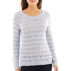 Long-Sleeve Open-Stitch Metallic Shimmer Sweater >>> You can find out more details at the link of the image. (This is an affiliate link and I receive a commission for the sales) #Sweaters