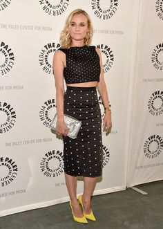 Diane Kruger Pencil Skirt - Diane Kruger completed her trendy outfit with a black-and-white polka-dot pencil skirt, also by Roland Mouret. Celebrity Summer Style, Celebrity Look, Celeb Style, Diane Kruger, Nicola Peltz, Nice Dresses, Dresses For Work, Daytime Dresses, Elle Fanning