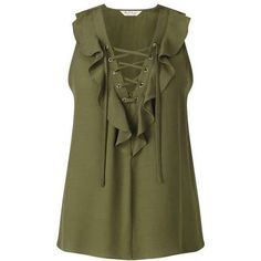 Khaki Ruffle Lace Up Shell ($26) ❤ liked on Polyvore featuring tops, sleeveless tops, blouses, shell tops, lace front top, lace up front top and frilly tops