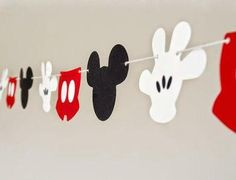 Mickey mouse inspired Garland 89 ft by BluefinWorks on Etsy Mickey E Minie, Fiesta Mickey Mouse, Mickey Mouse Clubhouse Party, Mickey Mouse Clubhouse Birthday, Mickey Mouse Parties, Mickey Birthday, Mickey Party, Happy Birthday, Disney Parties