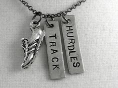 RUN TRACK HURDLES Necklace Running Necklace on 18 by TheRunHome, $19.00 you know an end of track season gift mom!