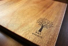 """Personalized Engraved Wood Cutting / Bread Board - two birds in a tree / initials and date - Mahogany - 16"""" x 12"""""""