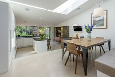 Using glass rooflights to create light, ventilation and space Living Spaces, Dining Table, Glass, Furniture, Inspired, Home Decor, Ideas, Decoration Home, Drinkware