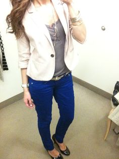 Love the blue pants with this:)