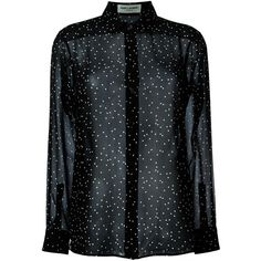 Saint Laurent sheer polka dot blouse featuring polyvore women's fashion clothing tops blouses shirts black collar blouse long-sleeve shirt collared shirt sheer long sleeve shirt polka dot blouse