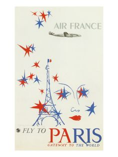 Fly to Paris : vintage Air France poster #retro #eiffeltower