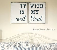 """Aimee Weaver Designs — Handpainted Canvas Set """"It is Well"""" Diy Signs, Wooden Signs, Rustic Signs, Diy Home Decor, Canvas Art, Canvas Ideas, Sweet Home, Hand Painted, Painted Canvas"""