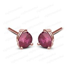 Pear Cut Red Ruby Solitaire Stud Earrings Rose Gold Over 925 Sterling Silver  #eighty #Solitaire