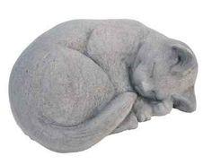 Cast-Stone-Small-Curled-Cat-Garden-Statue-Antique-Gray-Yard-Art-Sculpture-Decor