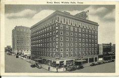 Kemp Hotel Wichita Falls TX postcard black and white 1940s