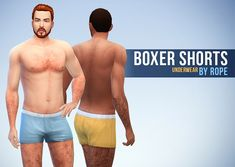 Boxer Shortsand Briefs for The Sims 4   Because the game doesn't give us a lot of underwears, I needed more for my sims ! The boxer shorts are based on the one from the last patch, using the same color options as my old one(they don't replace them, unlike my new version of the henley shirt !). The briefs are new, even if I had them for a long time in my game but with few color options, so I created more ;)   Available for teen to elder men, with 15 colors for each of them.        Download…