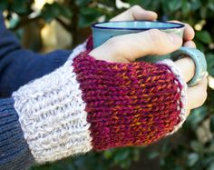 Father Christmas Buskers' Mittens  Mens Fingerless by StripyKite