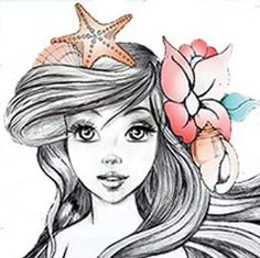 This would make a sweet piece! ARIEL from the little mermaid disney movie with a flower crown sketch sketches illustration illustrations with watercolor pastels pastel color scheme colors Disney Kunst, Arte Disney, Disney Magic, Disney Art, Punk Disney, Disney Merch, Disney Collection, Disney Princess Drawings, Tatoo Art