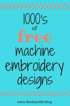 Embroidery Tutorials List of Free Embroidery Designs - huge list of beautiful machine embroidery designs - of free designs from over 12 designers Best Embroidery Machine, Brother Embroidery Machine, Machine Embroidery Projects, Free Machine Embroidery Designs, Hand Embroidery, Embroidery Stitches, Embroidery Ideas, Modern Embroidery, Embroidery Machines