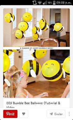 DIY Bumble Bee Balloons (Tutorial & Video) // Hostess with the Mostess® - Buzz, buzz, buzzzzzzzzzzzz! These DIY Bumble Bee Balloons are such a fun project for any bee-themed - Diy Ballon, Party Ballons, Baby Dekor, Bumble Bee Birthday, Festa Party, Bee Theme, Baby Party, Baby Shower Themes, Shower Ideas