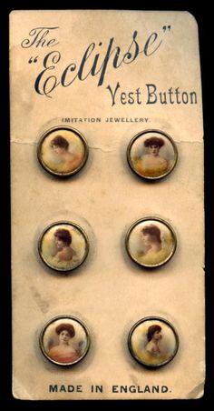 Antique Lithograph Waistcoat Button Card Set of Six Victorian Women circa 'Got 3 of them. Vintage Sewing Notions, Vintage Sewing Machines, Button Cards, Button Button, Look Vintage, Beaded Brooch, Sewing Accessories, Sewing A Button, Vintage Buttons