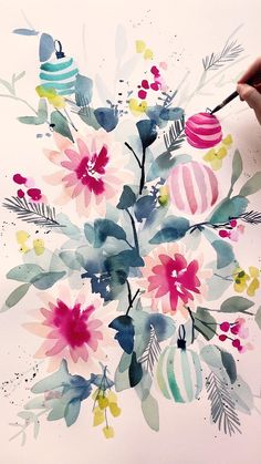 Abstract Watercolor, Watercolour Painting, Watercolor Flowers, Plant Painting, Ceramic Painting, Beginner Painting, Vintage Floral, Art Tutorials, Art Projects