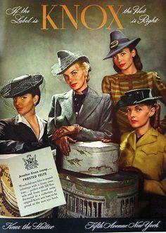 Knox Hat advertisement from Harper's Bazaar, September 1942 40s photo print ad suit dress hat gloves