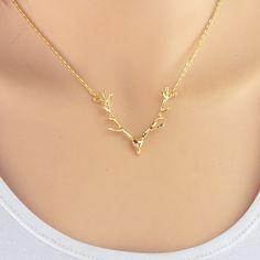 Cute Deer Antlers Pendant Necklace