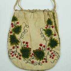 Antique Georgian Embroidered Silk Reticule Purse Circa 1800