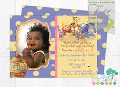 Winnie The Pooh Printable Photo Invitation : DIY Digital Invite with Dots