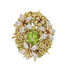 Tiffany & Co. Schlumberger Vintage Peridot & Diamond 'Coussin' Pendant Brooch - Photo courtesy of Betteridge