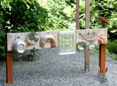 "Inspiring outdoor playscapes by Teach Preschool - Inspiring outdoor playscapes by Teach Preschool - I want to make all of these for our yard. I've started the music board. If you have any reusable metal ""things"" please send them in. We are also collecting large (1L minimum) plastic jugs / bottles."