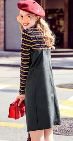 Two-piece dress Fall Hooded long-sleeved base sweater women's long paragraph belt leather skirt