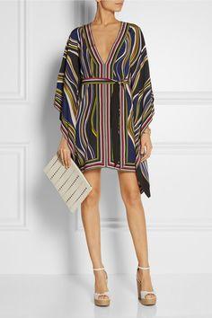 Multicolored silk crepe de chine Slips on 100% silk Dry clean Designer color: Marble Stripe Black