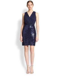 LAUNDRY Shelli Segal Navy Blue Chiffon & Sequins Sleeveless Dress Women's Size 6