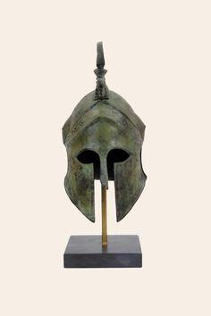 Set of 3 Hellenistic Goddess Athena Helmet Horse Iron Greek Replica Statue