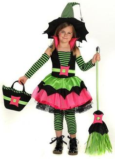 Be-witch them when you wear this Spiderina Child Costume. Includes a black, lime green and hot pink dress, arm warmers, and striped leggings. Please note that bag, broom and hat are sold separately. S