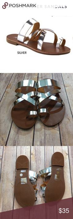 🌻SPRING SALE🌻Silver Metallic Sandals Classic metallic silver strappy sandals. Perfect for day or night out with your friends. Pair them with jeans, leggings Maxi Dresses or any spring/ summer outfit! Silver metallic color that would match anything! Fabfindz Shoes Sandals