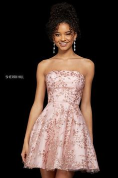 Cocktail dress style - Sherri Hill Short Tulle Skirt A Line Dress 53181 – Cocktail dress style Dresses Short, Hoco Dresses, Pretty Dresses, Homecoming Dresses, Strapless Dress Formal, Beautiful Dresses, Evening Dresses, Casual Dresses, Dresses For Work